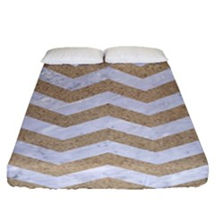 Chevron3 White Marble & Sand Fitted Sheet (queen Size) by trendistuff