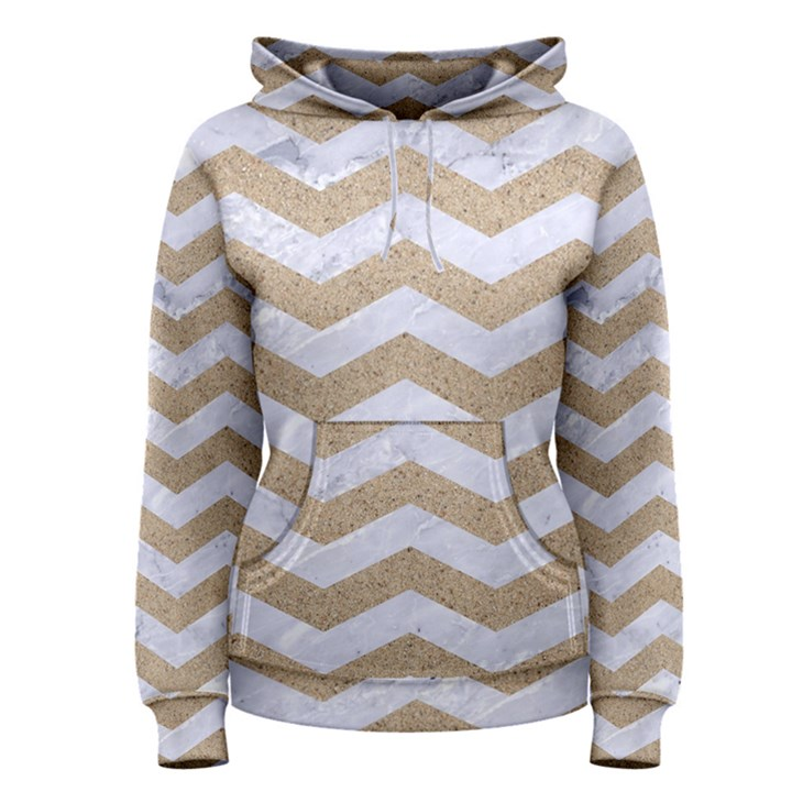 CHEVRON3 WHITE MARBLE & SAND Women s Pullover Hoodie
