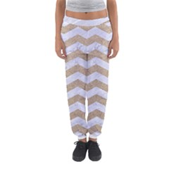 Chevron3 White Marble & Sand Women s Jogger Sweatpants