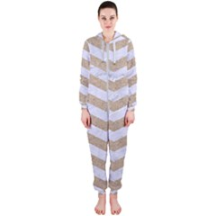 Chevron3 White Marble & Sand Hooded Jumpsuit (ladies)