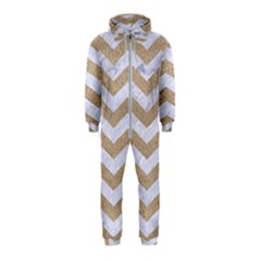 Chevron3 White Marble & Sand Hooded Jumpsuit (kids)
