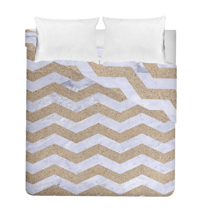 CHEVRON3 WHITE MARBLE & SAND Duvet Cover Double Side (Full/ Double Size)