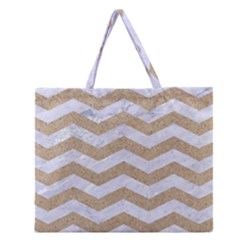 Chevron3 White Marble & Sand Zipper Large Tote Bag