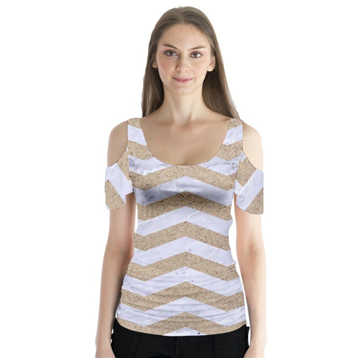 CHEVRON3 WHITE MARBLE & SAND Butterfly Sleeve Cutout Tee