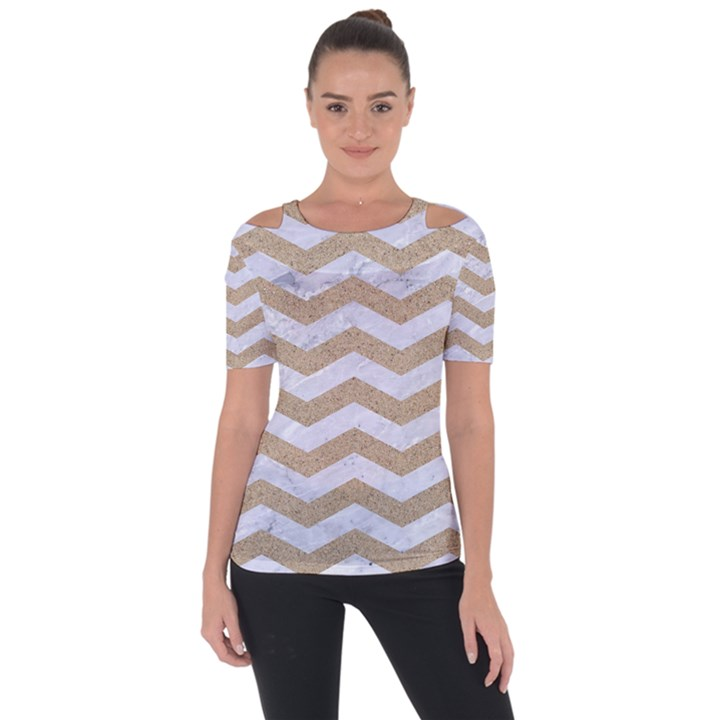 CHEVRON3 WHITE MARBLE & SAND Short Sleeve Top