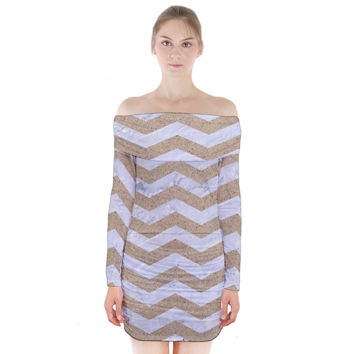 CHEVRON3 WHITE MARBLE & SAND Long Sleeve Off Shoulder Dress