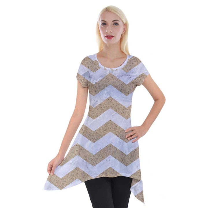 CHEVRON3 WHITE MARBLE & SAND Short Sleeve Side Drop Tunic
