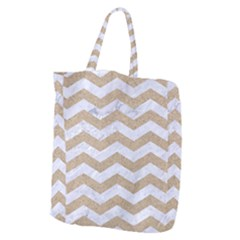 Chevron3 White Marble & Sand Giant Grocery Zipper Tote