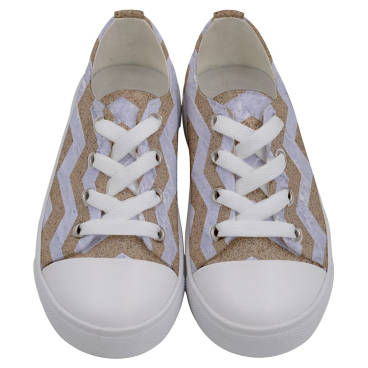 CHEVRON3 WHITE MARBLE & SAND Kids  Low Top Canvas Sneakers