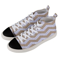 Chevron3 White Marble & Sand Men s Mid Top Canvas Sneakers by trendistuff