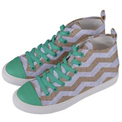 Chevron3 White Marble & Sand Women s Mid Top Canvas Sneakers by trendistuff