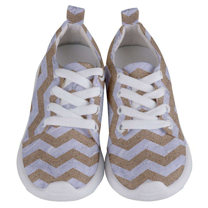 CHEVRON3 WHITE MARBLE & SAND Kids  Lightweight Sports Shoes