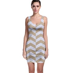 Chevron2 White Marble & Sand Bodycon Dress
