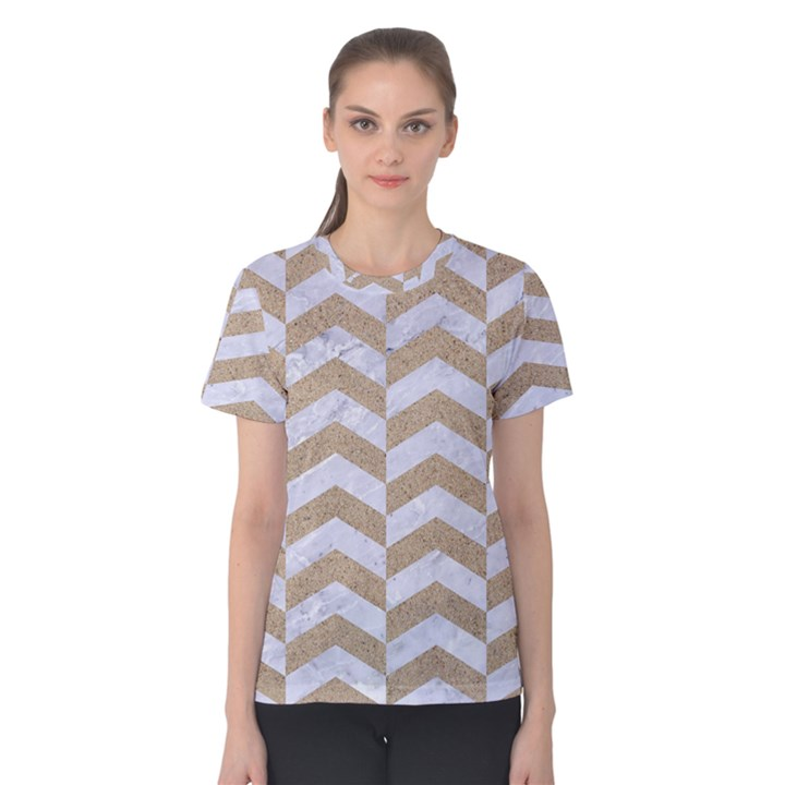 CHEVRON2 WHITE MARBLE & SAND Women s Cotton Tee