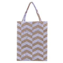Chevron2 White Marble & Sand Classic Tote Bag by trendistuff