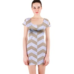 Chevron2 White Marble & Sand Short Sleeve Bodycon Dress