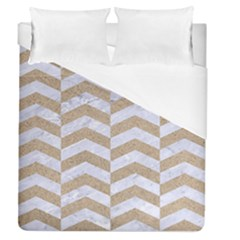 Chevron2 White Marble & Sand Duvet Cover (queen Size) by trendistuff