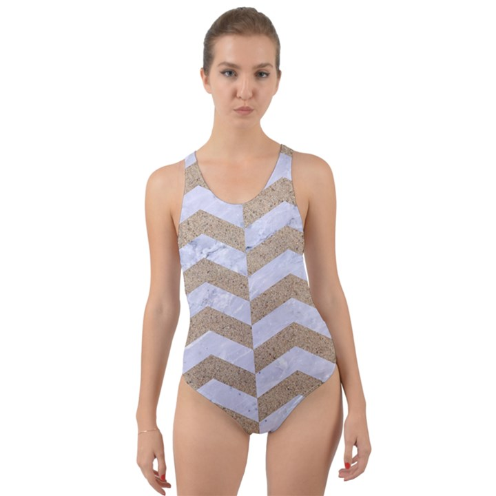 CHEVRON2 WHITE MARBLE & SAND Cut-Out Back One Piece Swimsuit