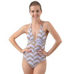 Chevron2 White Marble & Sand Halter Cut Out One Piece Swimsuit