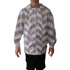 Chevron2 White Marble & Sand Hooded Wind Breaker (kids)