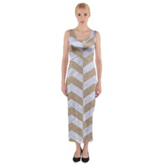 Chevron2 White Marble & Sand Fitted Maxi Dress