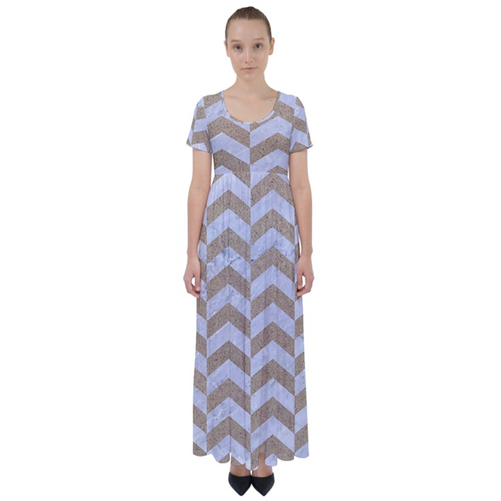 CHEVRON2 WHITE MARBLE & SAND High Waist Short Sleeve Maxi Dress