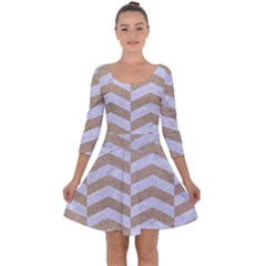 Chevron2 White Marble & Sand Quarter Sleeve Skater Dress