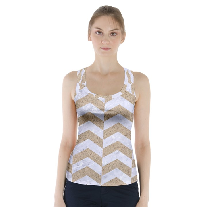 CHEVRON2 WHITE MARBLE & SAND Racer Back Sports Top