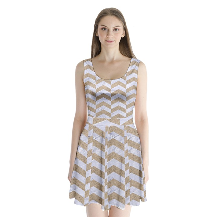 CHEVRON2 WHITE MARBLE & SAND Split Back Mini Dress