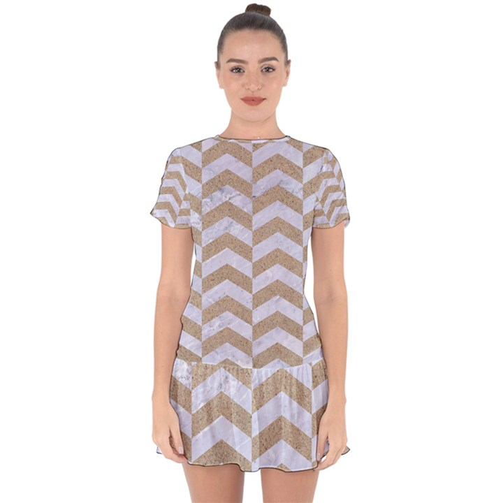 CHEVRON2 WHITE MARBLE & SAND Drop Hem Mini Chiffon Dress