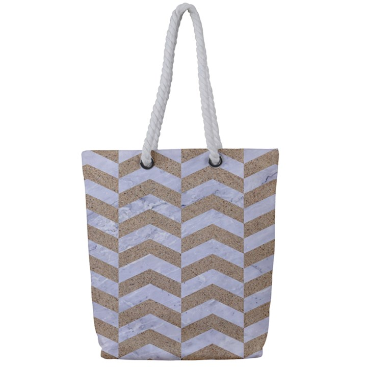 CHEVRON2 WHITE MARBLE & SAND Full Print Rope Handle Tote (Small)