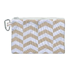 Chevron2 White Marble & Sand Canvas Cosmetic Bag (large) by trendistuff