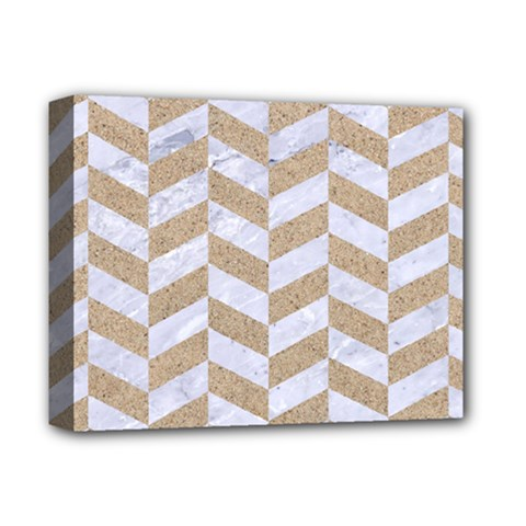 Chevron1 White Marble & Sand Deluxe Canvas 14  X 11  by trendistuff