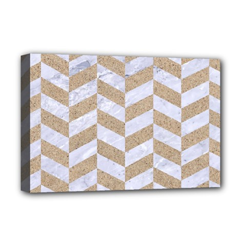 Chevron1 White Marble & Sand Deluxe Canvas 18  X 12   by trendistuff