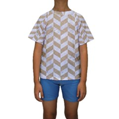 Chevron1 White Marble & Sand Kids  Short Sleeve Swimwear