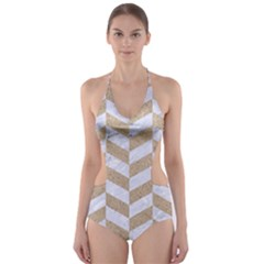 Chevron1 White Marble & Sand Cut Out One Piece Swimsuit