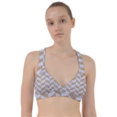 Chevron1 White Marble & Sand Sweetheart Sports Bra