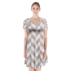 Chevron1 White Marble & Sand Short Sleeve V Neck Flare Dress