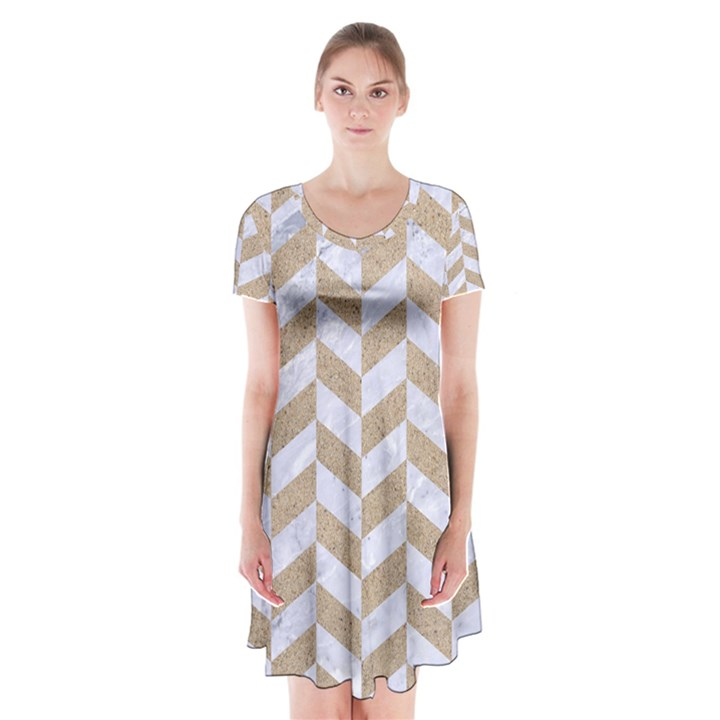CHEVRON1 WHITE MARBLE & SAND Short Sleeve V-neck Flare Dress