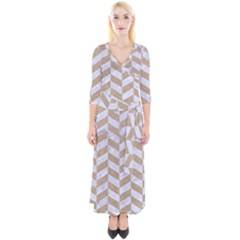 Chevron1 White Marble & Sand Quarter Sleeve Wrap Maxi Dress