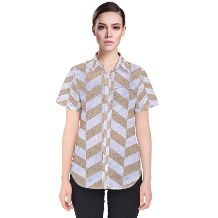 CHEVRON1 WHITE MARBLE & SAND Women s Short Sleeve Shirt