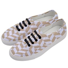 Chevron1 White Marble & Sand Women s Classic Low Top Sneakers by trendistuff