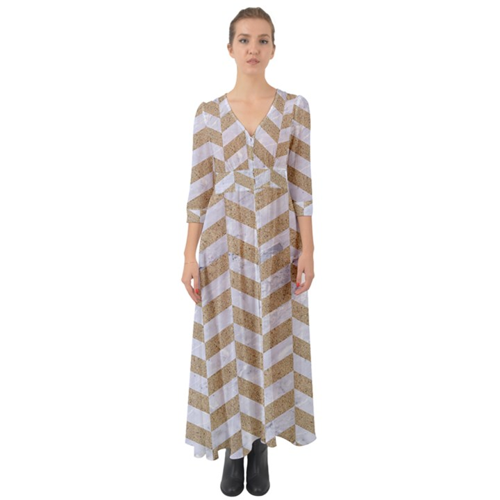 CHEVRON1 WHITE MARBLE & SAND Button Up Boho Maxi Dress