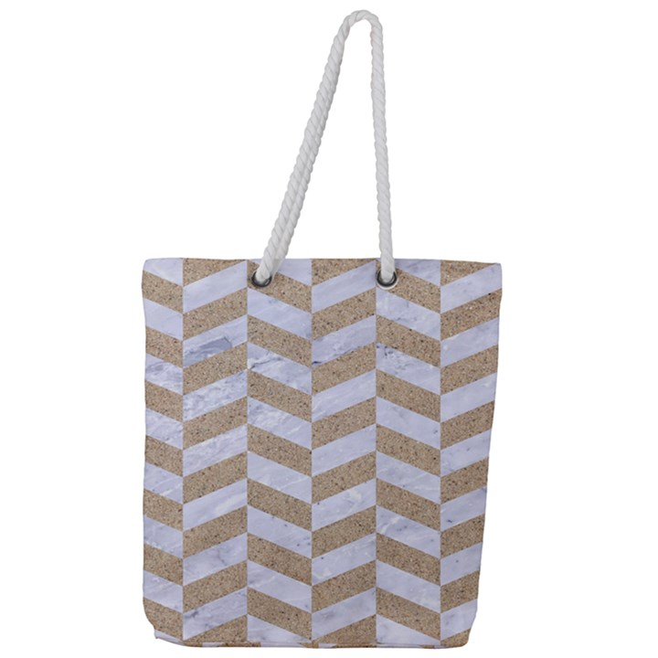 CHEVRON1 WHITE MARBLE & SAND Full Print Rope Handle Tote (Large)