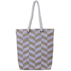 Chevron1 White Marble & Sand Full Print Rope Handle Tote (small) by trendistuff