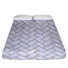 Brick2 White Marble & Sand (r) Fitted Sheet (queen Size) by trendistuff