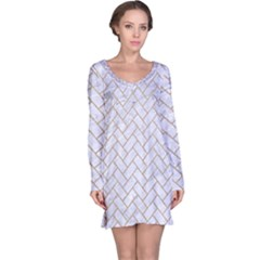 Brick2 White Marble & Sand (r) Long Sleeve Nightdress