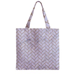 Brick2 White Marble & Sand (r) Zipper Grocery Tote Bag by trendistuff
