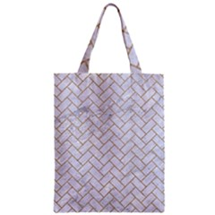 Brick2 White Marble & Sand (r) Zipper Classic Tote Bag by trendistuff