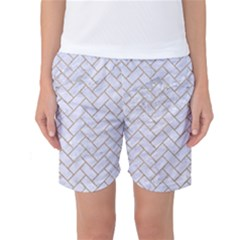 Brick2 White Marble & Sand (r) Women s Basketball Shorts by trendistuff